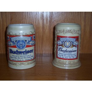 Budweiser Label Stein Set
